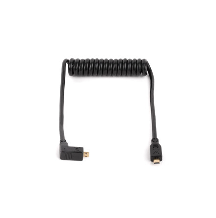 Cable Right Angle Micro HDMI to Micro HDMI Coiled (30-56 cm)